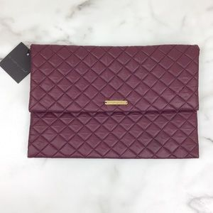 Do Everything In Love Maroon Quilted Clutch